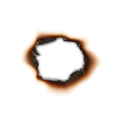 Burnt hole in paper sheet isolated damaged surface vector