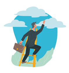 Businessman climbing on ladder success and career vector