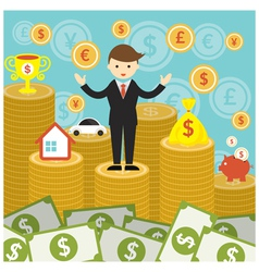 Businessman on Top of Gold Coins and Money vector image