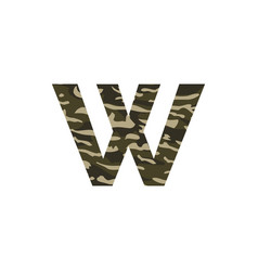 camouflage logo letter w vector image