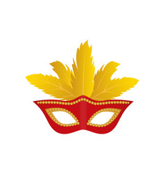 carnival mask with colden feathers isolated icon vector image