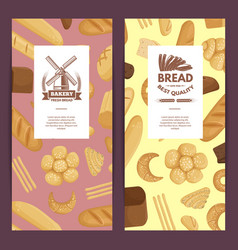 cartoon bakery elements flyer templates vector image
