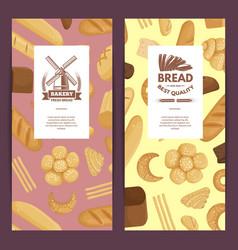 cartoon bakery elements flyer templates vector image
