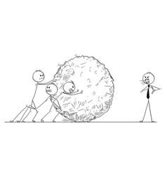 cartoon business team pushing big stone ball vector image
