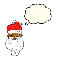 cartoon grim santa face with thought bubble vector image