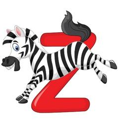 Cartoon zebra with alphabet Z vector