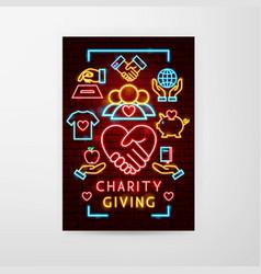 charity giving neon flyer vector image