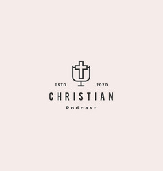 christian podcast logo hipster retro vintage for vector image