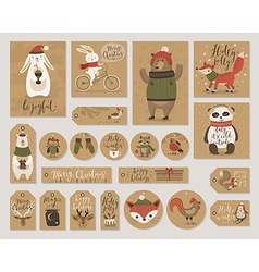 Christmas kraft paper cards and gift tags set hand vector
