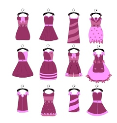 collection of fashionable elegant dresses for girl vector image
