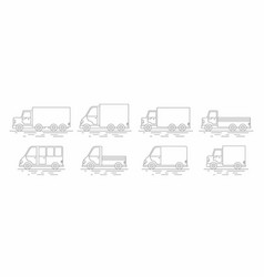 Commercial van icons set line icon vector
