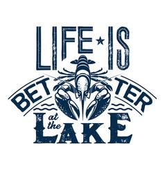 Crayfish t-shirt print fishing sport club vector