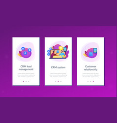 Customer relationship management app interface vector