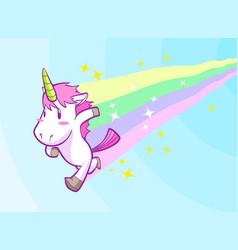 cute running little unicorn background vector image