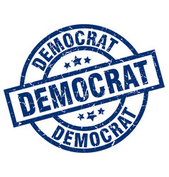 Democrat blue round grunge stamp vector