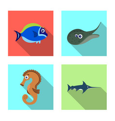 design sea and animal icon collection vector image