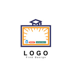education logo board with hat and stationary sign vector image