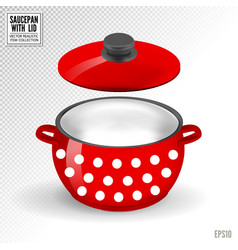 enameled white saucepan with lid realistic vector image
