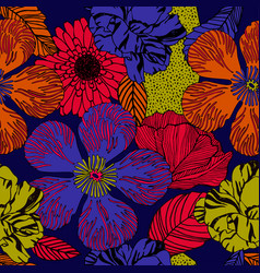 Exotic floral pattern in bright colours vector