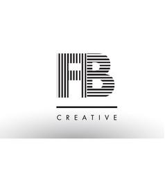 Fb f b black and white lines letter logo design vector