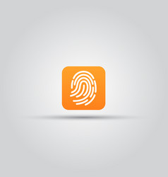fingerprint scanner isolated square icon vector image