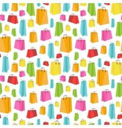 Flat colorful shopping bags on white seamless vector