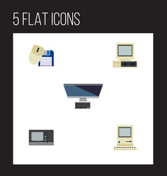 flat icon laptop set of computer mouse vintage vector image