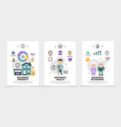 flat insurance service brochures vector image
