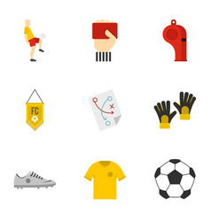 Football icons set flat style vector