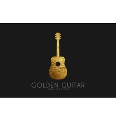 Golden gutar logo music logo guitar logo design vector