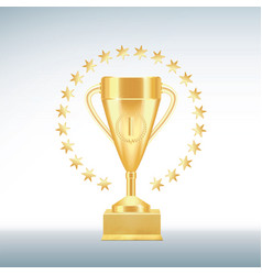 golden realistic trophy cup or goblet with number vector image
