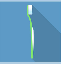 green toothbrush icon flat style vector image