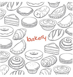 hand drawn doodle set with bakery elements vector image