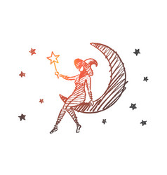 hand drawn halloween magic girl sitting on moon vector image