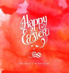 Happy easter watercolor inscription vector image