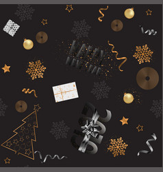 happy new year 2019 seamless pattern with gold and vector image