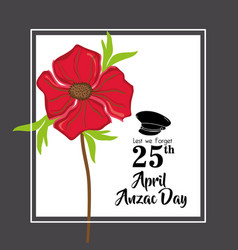 Hat soldier to remembrance anzac day vector