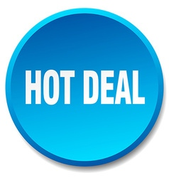 Hot deal blue round flat isolated push button vector