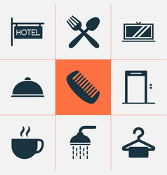 hotel icons set with cup meal tv and other tea vector image