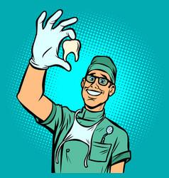Joyful dentist man torn tooth vector
