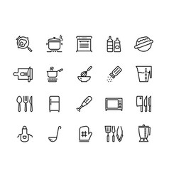 kitchen line icons food cooking processes and vector image