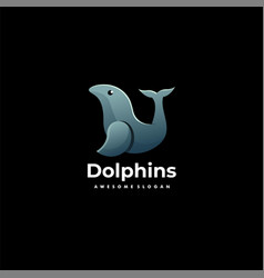 logo dolphins gradient colorful style vector image