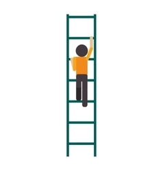 Man climbing ladder icon vector