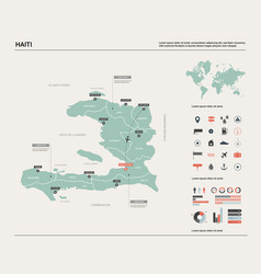 Map haiti high detailed country map with vector