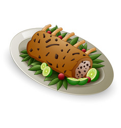 Meat ribs with limes and berries on white plate vector