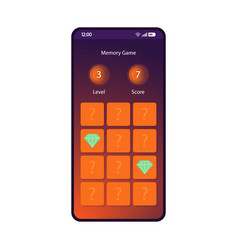 Memory game smartphone interface template vector