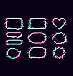 message bubbles set with glitch effect glitched vector image