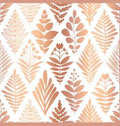 metallic copper foil floral seamless pattern vector image