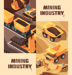 mining vertical banners set vector image