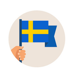 National day sweden independence day hand vector
